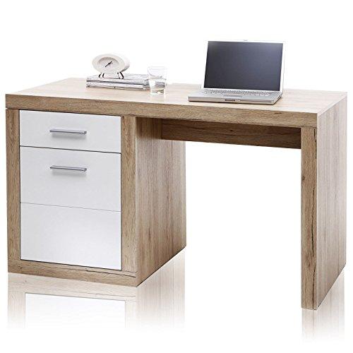 Stella Trading Schreibtisch weiß, Eiche San Remo hell Nachbildung, BxHxT 130x76x60 cm