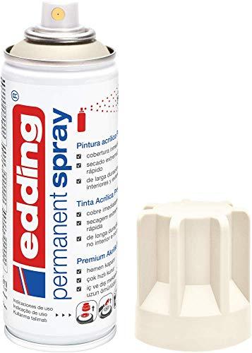 edding 5200-921 - Spray de pintura acrílica de 200 ml, secado rápido sin burbujas, color blanco crema mate