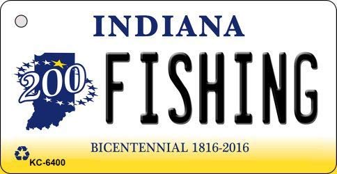 Bargain World Fishing Indiana State License Plate Novelty Key Chain...