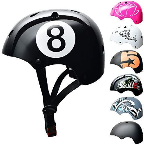 Skullcap BMX Helm - Skaterhelm - Fahrradhelm - Herren Damen Jungs & Kinderhelm, schwarz, Gr. S (53–55 cm), Black-8 NextLevel