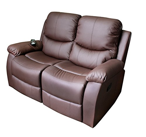 ECODE Sillón de masaje 2 plazas marrón chocolate reclinable ECO-8200