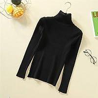 タートルネックセーター女性長袖スリムソリッドニットの女性のプルオーバーのセーター秋冬ジャンパーレディーストップス Ztoyby (Color : Black, Size : One Size)