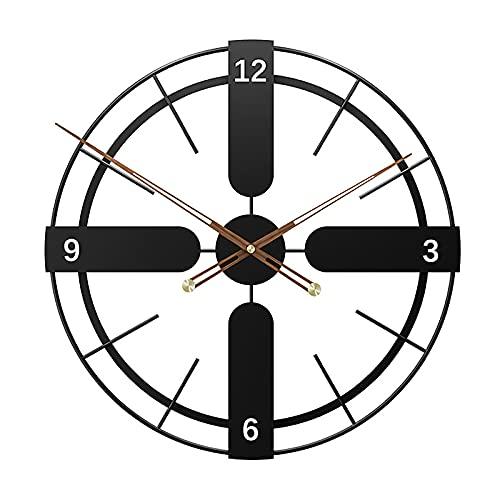 ZTSS Relojes de Pared de Metal Grandes, Reloj Vintage Silencioso Que No Hace Tictac con Pilas, Reloj Decorativo de Esqueleto de Metal para Sala de Estar, Dormitorio, Cocina, Oficina,50CM