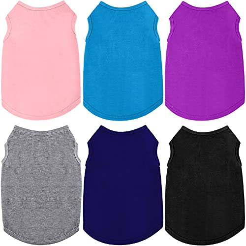 6 Pieces Dog Shirts Pet Puppy Blank Clothes Breathable Dog Plain Shirts Soft Puppy T-Shirts Clothes Outfit for Dogs Cats Puppy (X-Large, Black, Dark Gray, Navy Blue, Blue, Purple, Light Pink)