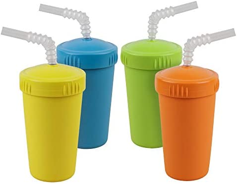 Re Play Made in USA 4pk Straw Cups with Bendable Straw in Sky Blue Orange Yellow and Lime Green product image