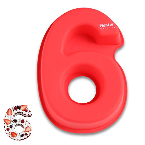 3D Large Silicone Number Cake Moulds,Birthday and Wedding Anniversary Day Silicone Baking Pans,rectangle novelty cake Tins oblong cake board 10 inch,Number of 6.