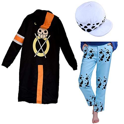 Updayday Trafalgar Law 2nd Cosplay Costume One Piece Trafalgar Law Cosplay Costume Adulte Veste Cape Ensemble Complet avec Chapeau et Pantalon pour Femmes et Hommes
