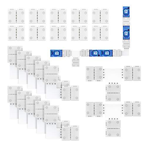 REDTRON Kit de Conector de Tira de Luz LED RGB 5050 de 4 Pines Incluye 10x Conectores de 4 Pines sin espacios, 10x Conectores RGB en Forma de L, 2x Conectores RGB en Forma de T