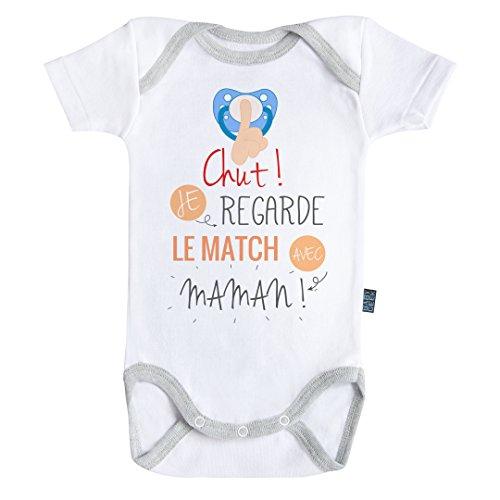 Baby Geek Chut ! Je Regarde Le Match avec Maman - Body Bébé Manches Courtes - Coton - Blanc - Coutures Grises (6-12 Mois)