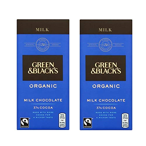 Green & Black's Organic Milk Chocolate 37% Cocoa 90g (Pack of 2)