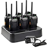Retevis RT27 Walkie Talkie, Walkie Talkies with 6 Way Charger, PMR446 License-free, 16 Channels, VOX, Two Way Radio for School, Factory, Security (6 Pack, Black)