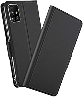 For Samsung Galaxy A51 Mobile Phone Case PU plus TPU Flip Side Magnetic Leather Protective Cover-Black