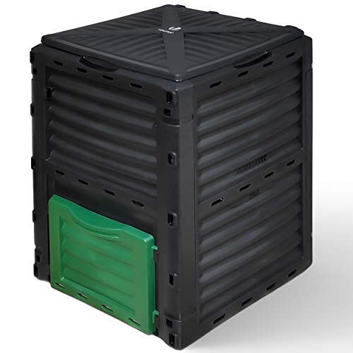 VOUNOT Compostiera da Giardino, 300L Composter da Esterno, Nero