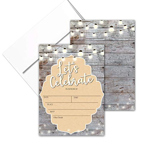 Let's Celebrate - Rustic Fill-in Party Invitations with Envelopes - 25 Invites & Envelopes - Wedding, Baby Shower, Rehearsal Dinner, Birthday Party (Lets Celebrate)