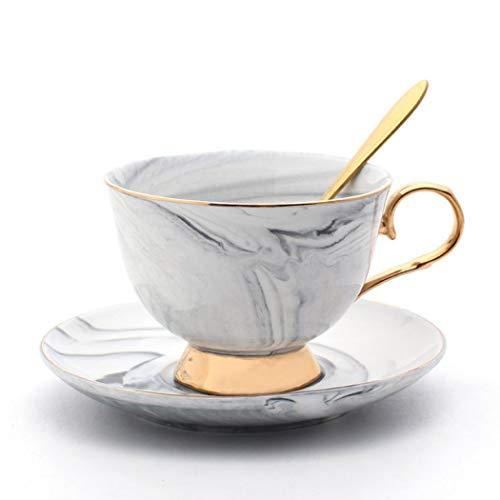 Porcelain Tea Cup Coffee Mug Set for Morning Tea - with Coffee Cup + Saucer + Teaspoon, 200ml (Gray)