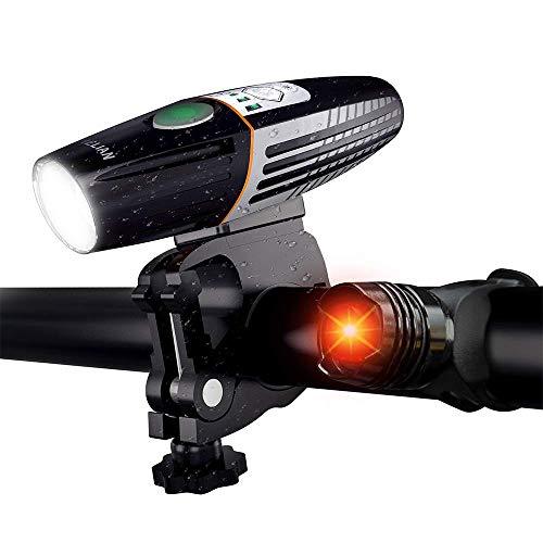 Luz Bicicleta LED, 6 Modos Luz Trasera Bicicleta Kit Impermeable y Recargable USB, Linterna Bicicleta Fácil de instalar para Carretera y Montaña-Seguridad para la Noche