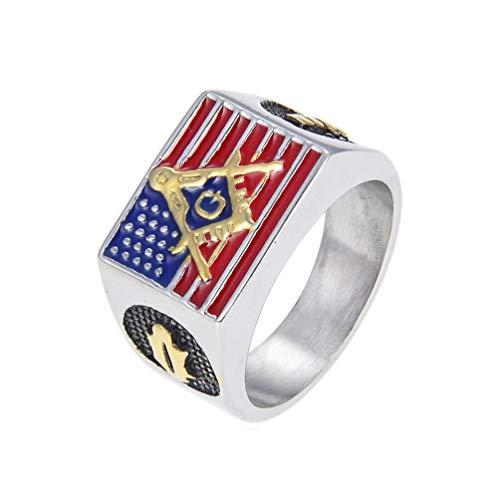 American Flag Masonic Biker Ring Stainless Steel Jewelry Gold, Gold Usa Flag Motor Biker Men Ring Jewelry Size 9