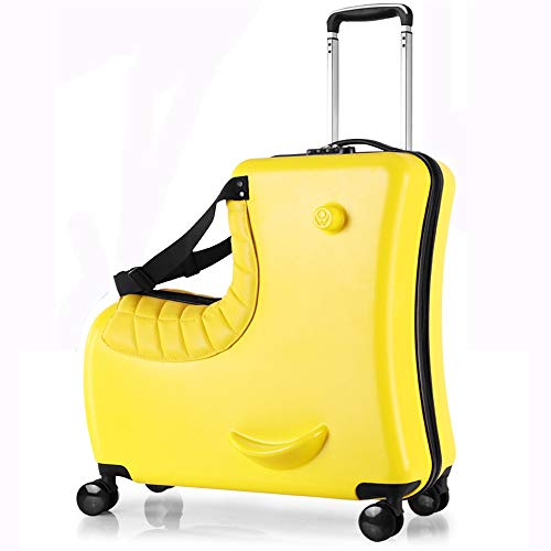 eLy Children's riding trolley, 24-inch universal wheel suitcase, children's travel, stylish appearance, riding fun suitcase, add fun to the journey, yellow