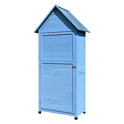41TvRqy330L - Zengqhui Außen Balkon Locker Lagerschrank Garten Regenfest Sunproof Korrosionsschutz Hof Ideale Aufbewahrungsbox für den Außenbereich (Farbe : Blau, Size : 84x45x178cm)