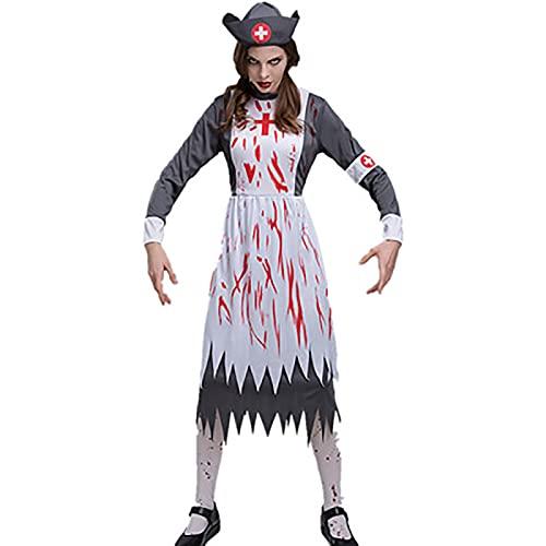 JEANMISS Disfraces de Halloween, Disfraces de la Enfermera de la Enfermera de la Enfermera de Miedo Adulto, adecuados para Halloween, Fiestas temticas, Fiestas de Disfraces,Gris,XL