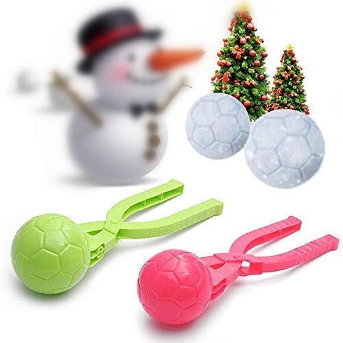 VPlus 2 Stücke Winter Schneeball Maker Sand Fußball Geformte Form Werkzeug Kinder Spielzeug Schnee Scoop Maker Schneekugel Clamp Clip Outdoor-Sportarten für Kinder Spielzeug Farbe Zufällig