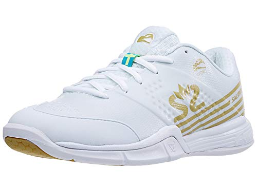 Salming Women's Viper 5 Squash Indoor Court Sports Shoes, White/Gold, 8.5
