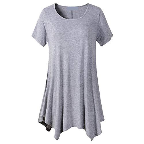 Camiseta de Mujer Tops de Manga Corta Camiseta de Cuello Redondo de Color sólido Dobladillo Largo Blusa Informal Tops Camisas Sudadera de Manga Larga Blusas de Color sólido Tops Camisetas de Verano