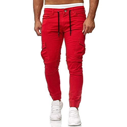 MINIKIMI Herren Jogging Hosen Jogginghose Cargo Chino Jeans Stretch Jogger Sporthose Slim-Fit Sweathose Cargohose Fitness Trainingshose M-3Xl (L, Rot)