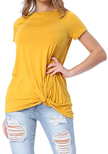 Levaca Womens Short Sleeve Loose Tops Solid Basic Twist Front Casual T Shirts