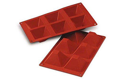 SF007 Molde de Silicona Pirámides, 6 cavidades, Color Terra