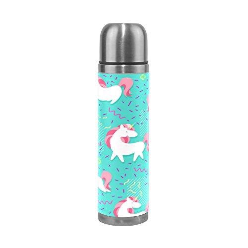 Ffy Go Travel Mug, Joli motif licorne personnalisé Thermos en acier inoxydable LeakProof Thermos isotherme extérieur Cuir pour filles garçons 500 ml