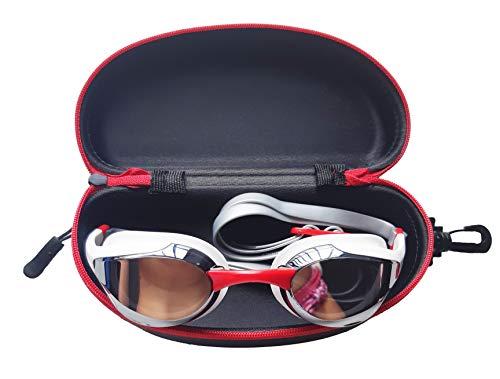 SWIMXWIN Custodia Rigida Universale Porta occhialini (Bordo Rosso)