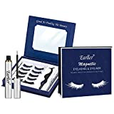 EARLLER Upgraded Magnetic Eyelashes with Eyeliner Kit, 5 Pairs Natural Look Full Eye Lashes With Applicator and Mirror - Waterproof, Easy to Use and No Glue Needed 3D Lashes Set (Exquisite Box)