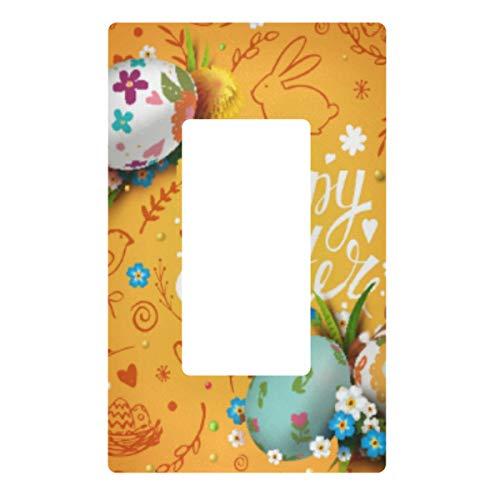 Placa de pared con interruptor de luz decorativa – Huevos de Pascua y flores, cubierta de la placa de interruptor de 2 bandas de enchufes eléctricos para dormitorio, cocina, decoración del hogar