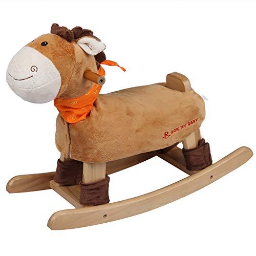 Unbekannt GOUO@ Kinder Holzpferd Shake Holz Musik Schaukelpferd Baby Spielzeug Schaukelstuhl Geschenkauto Mit Musik Für 0-6 Monate-3 Jahre Altes Baby