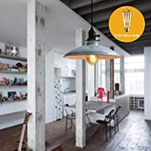 Plug in Pendant Light - Plug in Hanging Light - Plug in Ceiling Light - Vintage Pendant Lamp Dia 250Mm E27 Aluminum Iron Metal Retro Northern Europe Industrial Style - White No Bulb