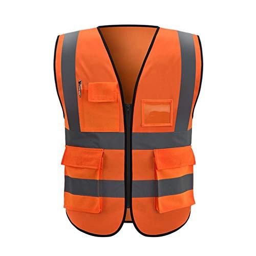 DBL Reflektierende Sicherheitsweste Mehrfach-Arbeitskleidung Warnschutzweste Reisen bei Nacht Sicherheit Unisex Sicherheitswesten (Color : Fluorescent red, Size : XL)