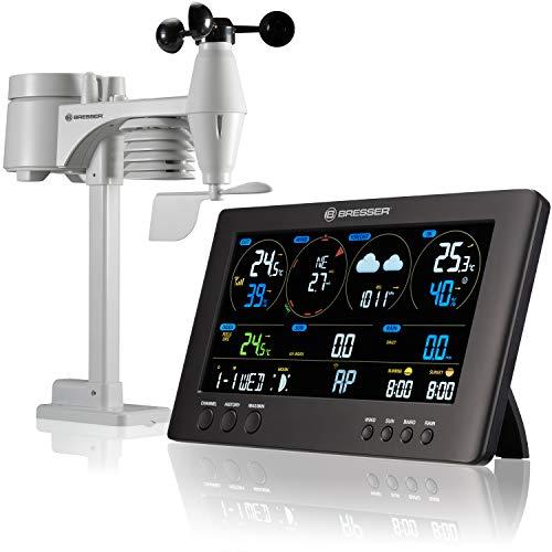 Bresser Wetterstation Funk mit Aussensensor ClearView Wettercenter mit WLAN und 7-in-1 Profi-Sensor für Wind, Luftfeuchtigkeit, Temperatur, Niederschlag, UV-Level und Lichtintensität