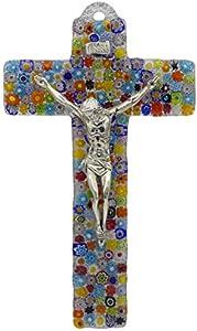 Cruz de cristal moderna pequeña multicolor flores de Murano hechas a mano cuerpo de metal plateado 23 x 14 cm crucifijo para pared