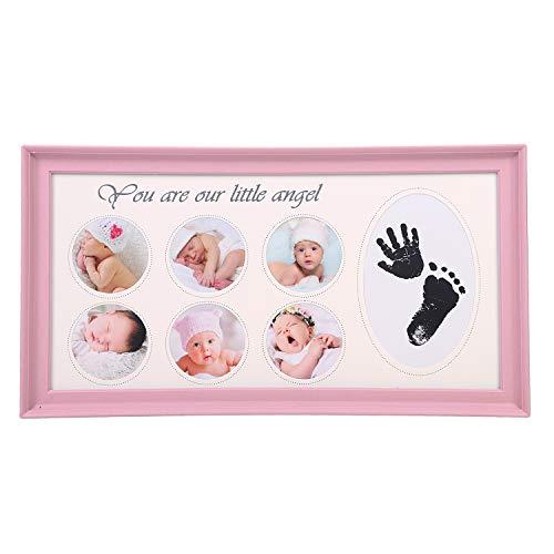 Fotolijst voor baby's, met handafdruk, voetafdruk, kunststof lijst, tafeldecoratie, plastic fotocollage, standaard, portretlijst, decoratieve fotolijst voor babyfoto's, fotolijst voor cadeau, decoratie 39.5 x 22 cm (LxB) roze