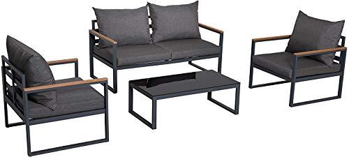 Nuu Garden 4 Piece Aluminum Teak Patio Furniture Sofa Set, Outdoor Conversation/Bistro Set with Loveseat, Coffee Table, Cushions for Home, Backyard, Pool - Dark Grey/Black