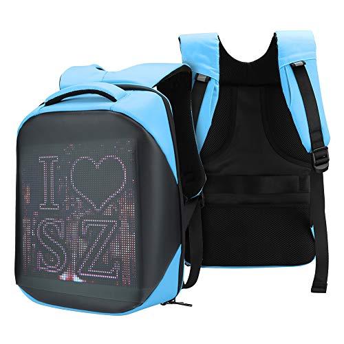 Smart Pixel LED Backpack, Multi‑Function Ergonomic Laptop Backpack Customizable Digital PIX Display WIFI APP Control Waterproof School Bookbag 20L 25 x 25cm(Blue)