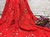Lace Crafts - 1Yard Nigerian Lace Fabrics for Wedding Dress White African Cord Lace Fabrics Red Blue Lace Mesh Cotton Material - (Color: Red, Size: L)