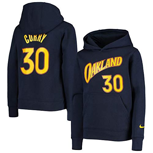NBA Youth 8-20 Essential Player - Sudadera de forro polar con capucha y nombre y número, Stephen Curry Golden State Warriors Navy City Edition, Large