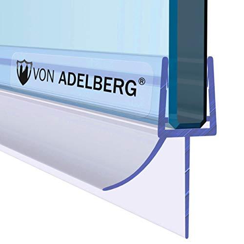 VON ADELBERG Duschdichtung Wasserabweiser Gerade PVC Ersatzdichtung für Dusche Typ: VA006 - Länge: 40 bis 200 cm - Glasstärke: 5, 6, 7, 8, 9, 10 mm, Dichtung Länge:60 cm, Glasstärke:6 mm