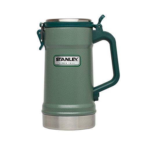 Stanley Legendary Classic Doppelwandiger Edelstahl-Bierkrug, integrierter Deckel, 0.7 L, hammertone green, 18/8 Edelstahl, vakuumisoliert, Humpen Maßkrug Bierseidel