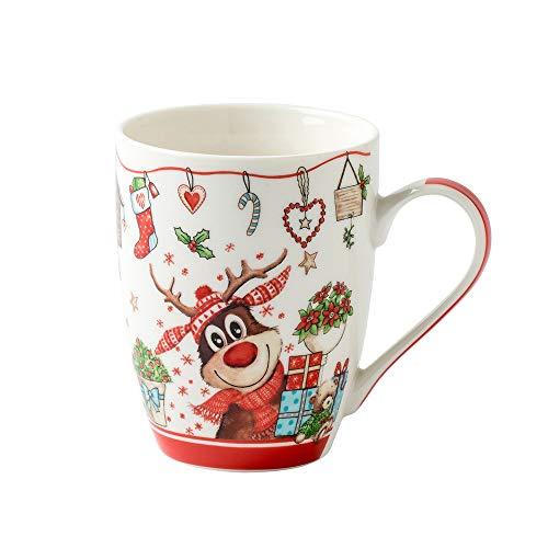 Altom Design Weihnachtsbecher Weihnachtstasse Keramik 300 ml Holly New 2020 Winter Christmas Varianten (Rot)