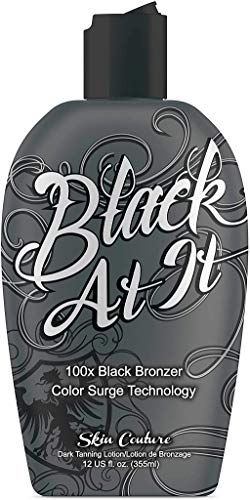 Best indoor tanning lotion for tanning beds Black at it Tanning Lotion tanning bed lotion with bronzer and accelerator   Instant Dark   Color Surge Technology   100x Black Bronzer suntan lotion