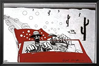 Wood Framed Ralph Steadman (Fear and Loathing in Las Vegas) Art Poster Print - Black Finish Crafted in USA