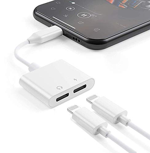 Adaptador para iPhone XR [Llamada+música] Doble convertidor Cable de Audio AUX Splitter Conector de Compatible para iPhone 7/8/78Plus/11/11 Pro/XS MAX/XS/X/XR Plus Apto para Todos los Sistemas iOS